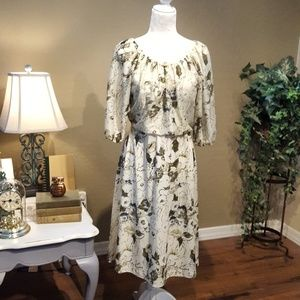 Vintage - Cream Floral Aline Dress